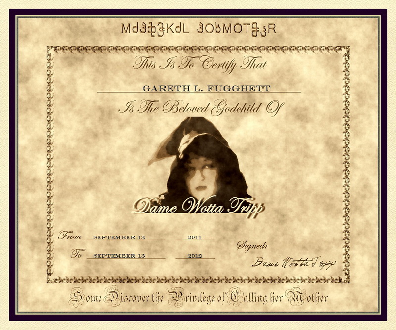 An Example of the Magickal Godmother Certificate